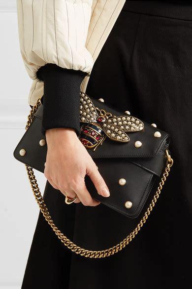 gucci broadway bee embellished leather shoulder bag