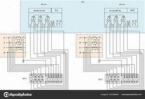 Electrical Wiring Diagram Energy Meters  U2014 Stock Vector