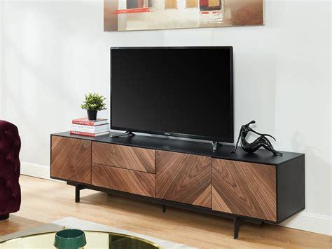 meuble tv ismael 3 portes mdf coloris noyer noir