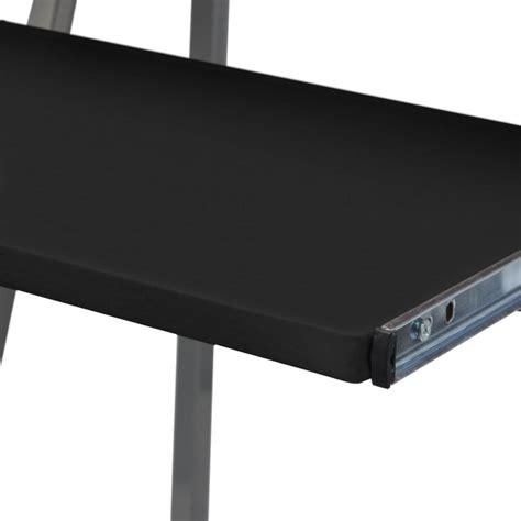 computer desk pull out keyboard shelf computer desk with pull out keyboard tray black vidaxl com