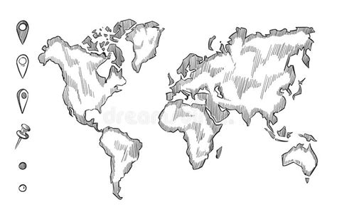 hand drawn rough sketch world map  doodle pins stock