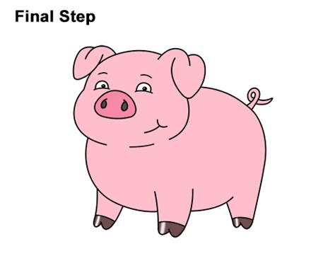 draw  pig cartoon video step  step pictures