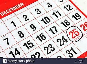Calendar at the month of December with a black ring around ...