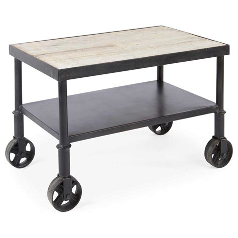 end table with wheels belker industrial loft reclaimed wood iron casters cart