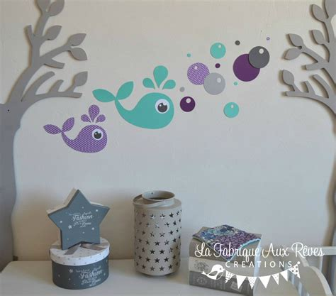 chambre bulles stickers baleine turquoise violet gris bulles d 233 coration