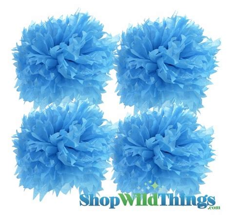 Turquoise Blue Tissue Paper Pom Poms 12 Turquoise Blue