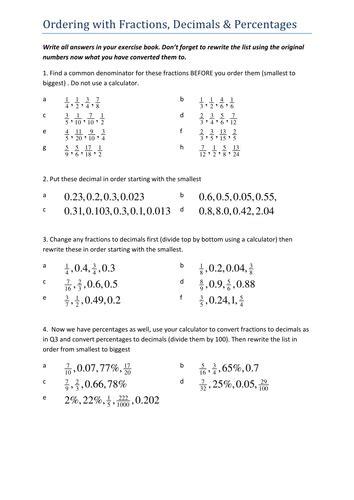 ordering fractions decimals percentages by tristanjones
