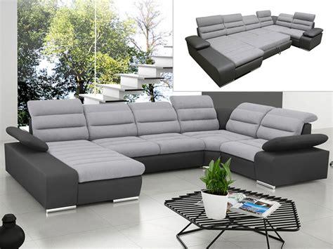 canapé d 39 angle panoramique convertible gris ou bleu boileau