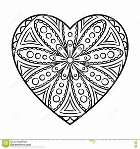 Doodle Heart Mandala stock vector Illustration of flourish  76609730