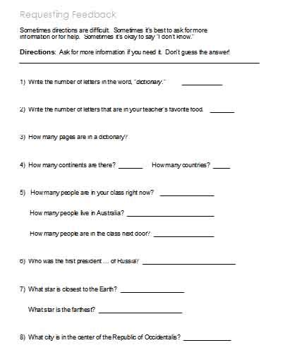following directions worksheets activities goals and