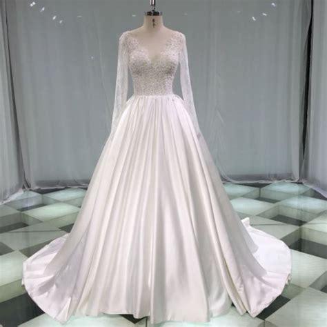Illusion Ivory Satin Wedding Dresses 2019 A-Line ...