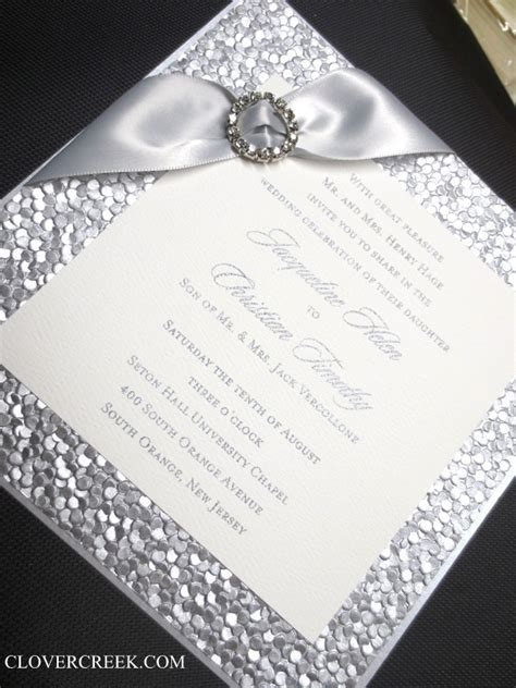 silver invite  crystal buckle bling wedding
