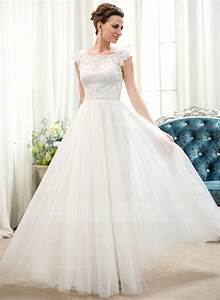 a line princess scoop neck floor length tulle lace wedding With a line princess wedding dress