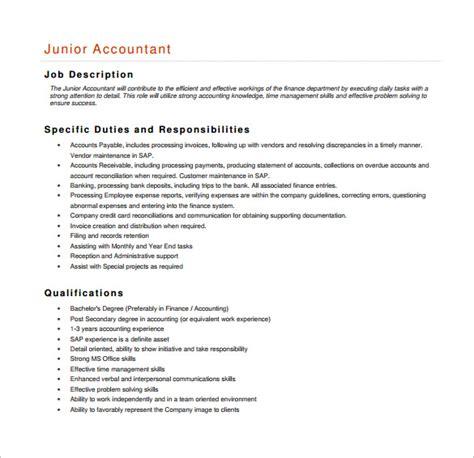 Office Junior Description Template by Accountant Description Template 11 Free Word Pdf