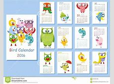 Calendar 2016 Cute Owls And Birds,vector Stock Vector