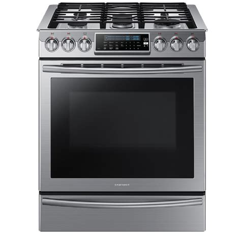 shop samsung 5 burner 5 8 cu ft slide in convection gas range stainless steel common 30 in