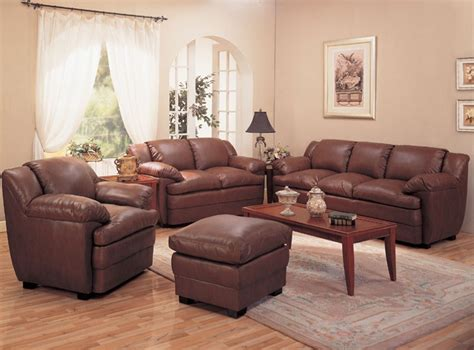 alondra leather living room set  brown sofas