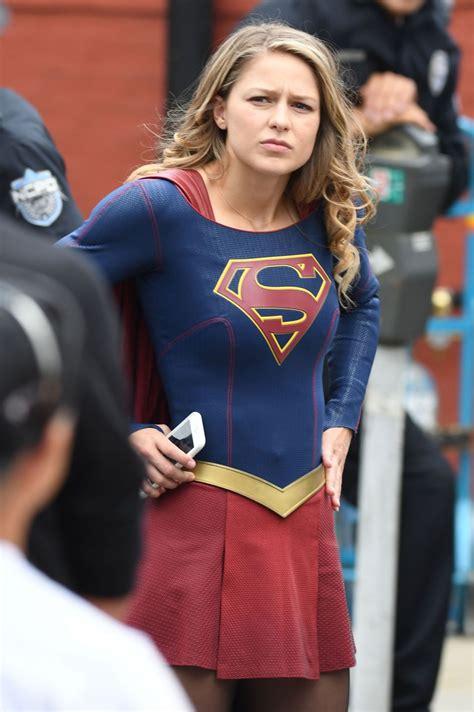 melissa benoist supergirl set   westminster