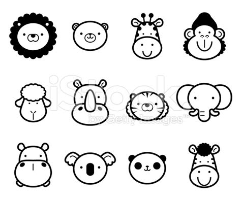 cute zoo animals  black  white templates easy