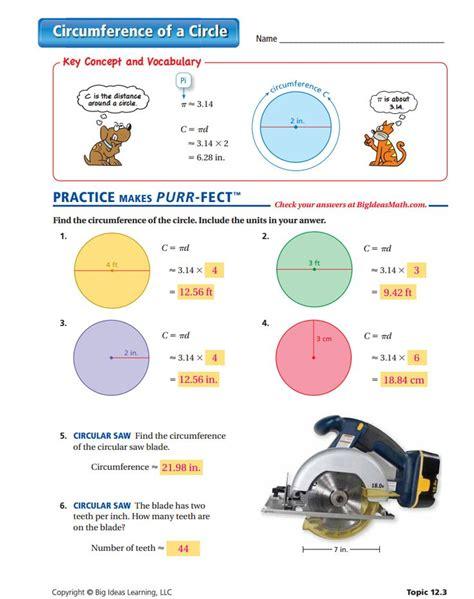 circumference of a circle worksheet answers perimeter