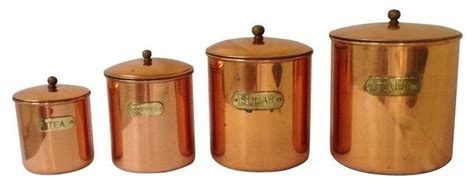 vintage kitchen storage containers pre owned vintage copper kitchen canisters set of 4 6832