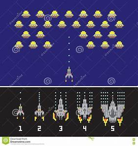 Pixel Art Style Space War And Spaceship Game Upgrades ...