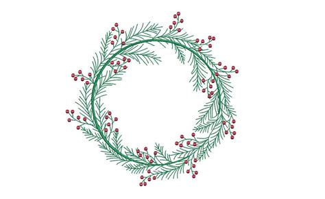 christmas holly wreath embroidery machine embroidery file design   hoop monogram frame