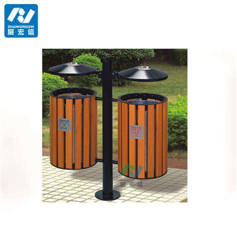 wooden outdoor waste bin street trash  steel trash bin