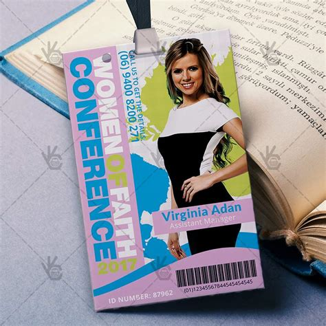 women conference premium id card psd template psdmarket
