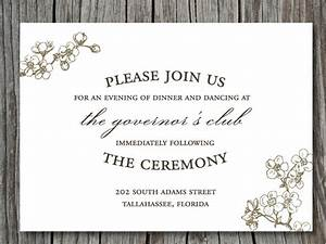 invitation wording reception immediately following gallery With wedding invitation for manager