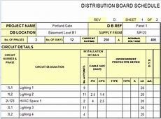 Electrical Panel Schedule Template Excel schedule