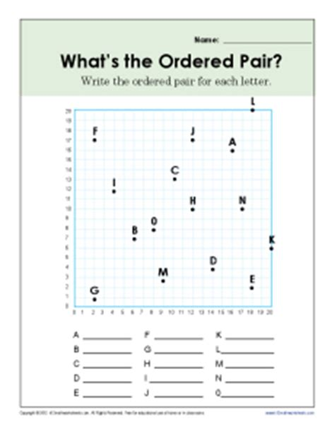 what s the ordered pair 5th grade geometry worksheets