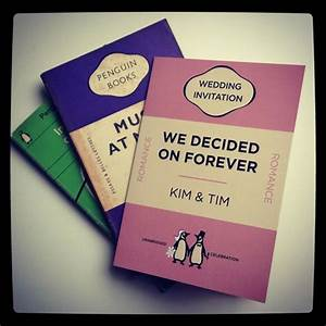 penguin book style wedding invitations stationery With wedding invitation photo booklet