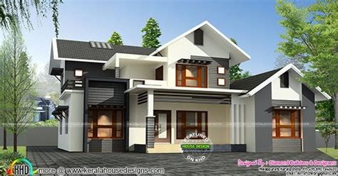 sloping roof mix  sq ft home kerala home design  floor plans