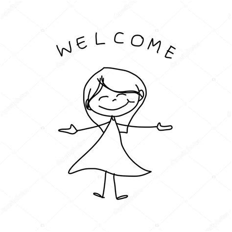 Kleurplaat Meisje Met Jurk by Tekening Gelukkig Meisje In Jurk Met Welkom