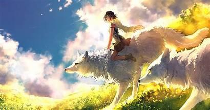Mononoke Princess Wallpapers Ghibli Wolf Yuumei Anime
