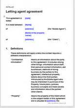 Letting Agent Agreement Template