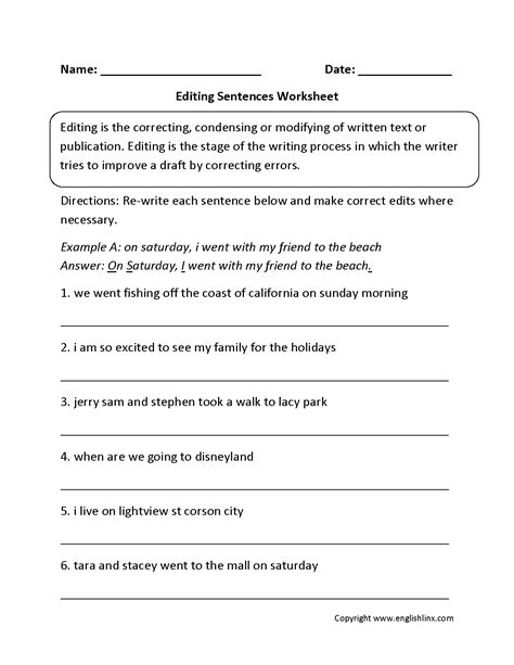 14 Best Images Of Editing Sentences Worksheets 4th Grade  4th Grade Sentence Writing Worksheets