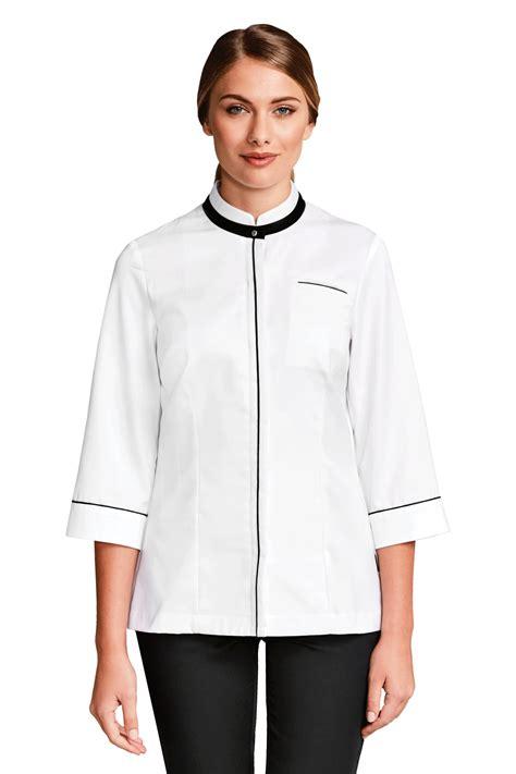 blouse de cuisine femme veste chef cuisine femme ania blanche