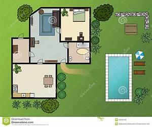 plan de maison de campagne avec des meubles illustration With plan maison de campagne