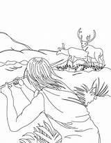 Coloring Hunting Deer Hunter Spear Template Pages Templates sketch template