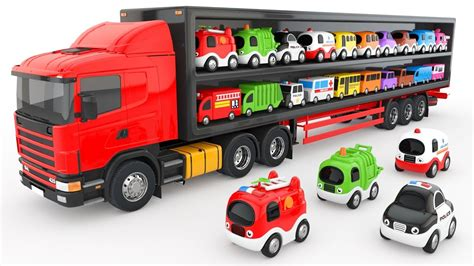 Colors For Children To Learn With Truck Transporter Toy