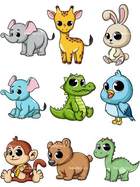 cartoon baby animals vectors friendlystock