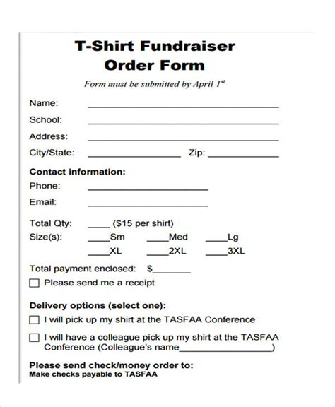22078 t shirt order forms 8 fundraiser order forms free sle exle format