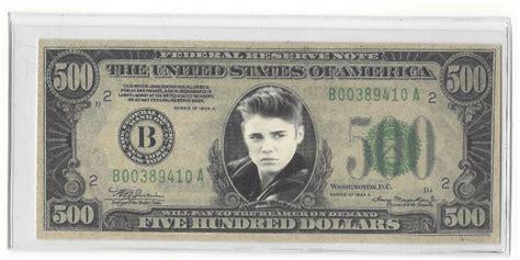 novelty  dollar justin bieber bill ebay