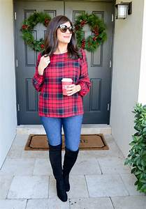 Festive Plaid Top And Over The Knee Boots