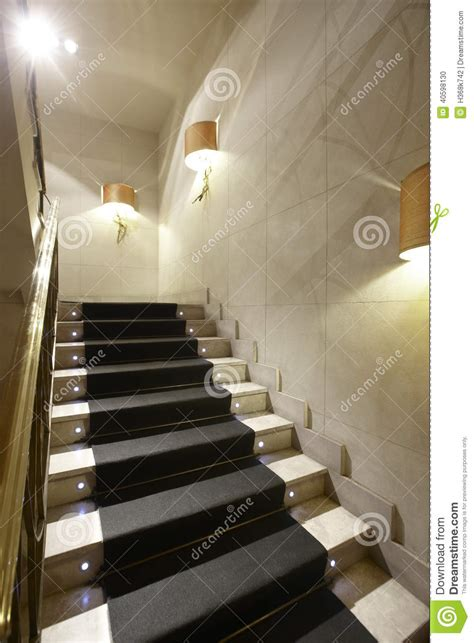 luxury home interior  marble stairs stock photo image  iron plant