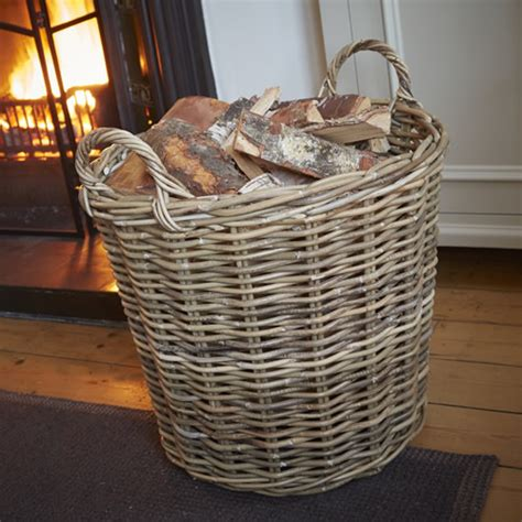 store quality rattan log basket large