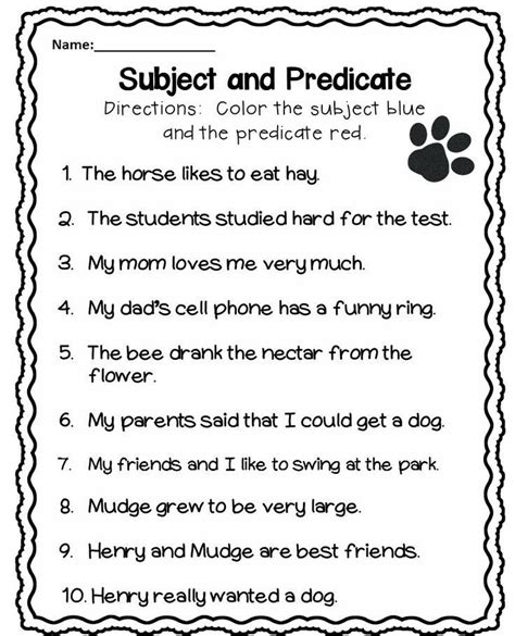 Subject And Predicate Worksheet  Free Lessons  Subject, Predicate, Subject, Predicate