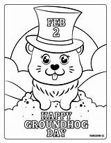 Groundhog Coloring Pages Sheets Printables February Adorable 2021 Hat Head sketch template